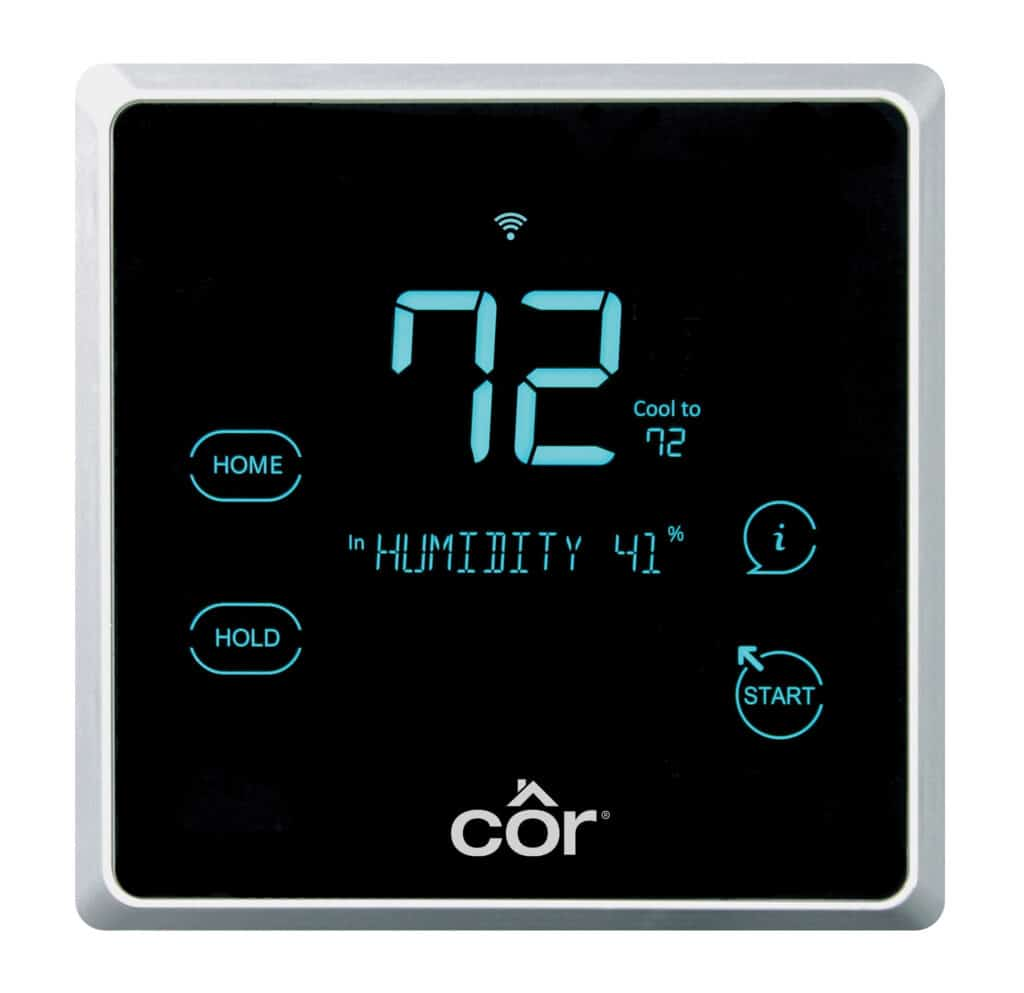cor programmable thermostat with blue digital digits and a black screen, square