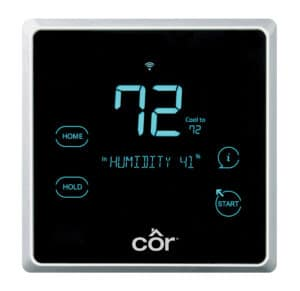black programmable thermostat with blue digits set at the average set temperature for summer months