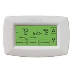 Honeywell 7-day programmable thermostat with black digits on green screen with white casing