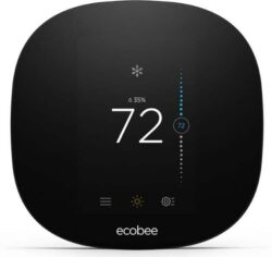 ecobee smart thermostat that is black with white numbers on with a white background