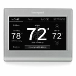 grey honeywell wifi thermostat with black screen and white digits