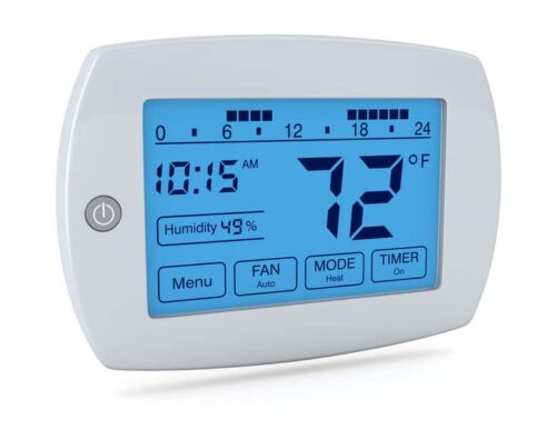 thermostat setting for summer with blue screen and black numbers and letters