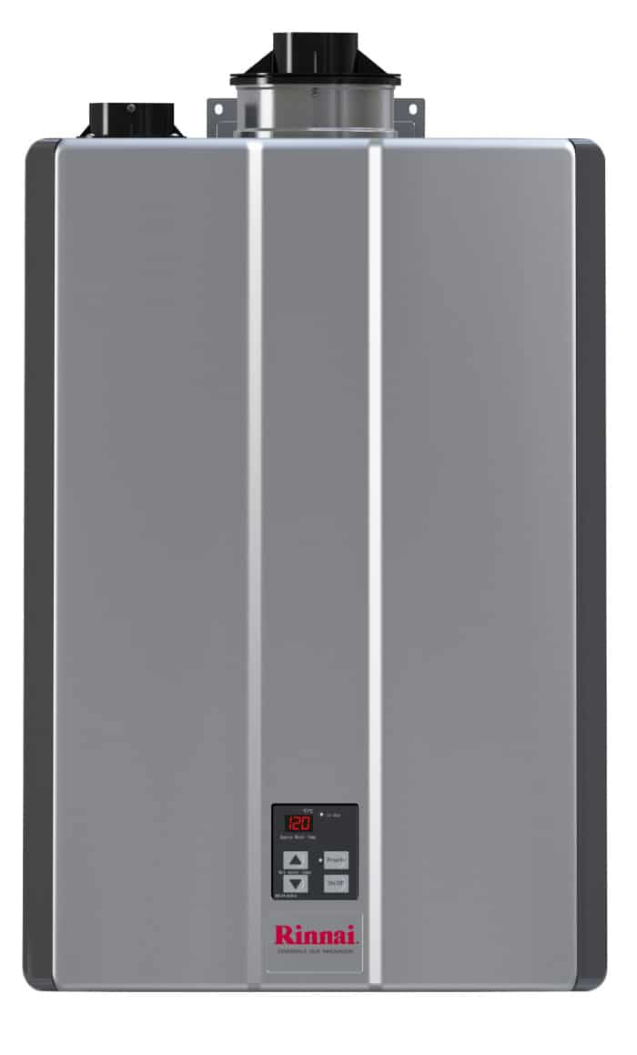 gray rinnai tankless water heater for indoor use