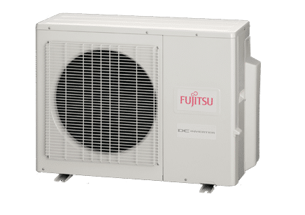 the most energy efficient air conditioner with outdoor unit and indoor unit in white casing and red letters