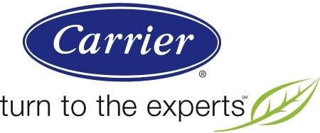 carrier logo in blue and white with black letters