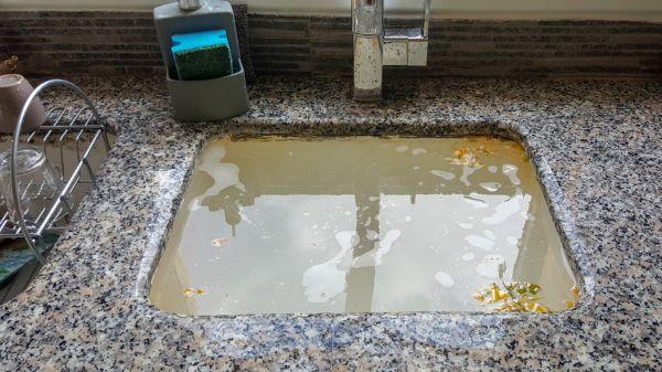 clogged drain in kitchen sink