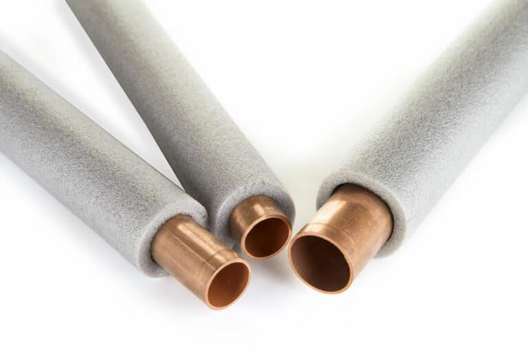 copper pipes insulated with foam