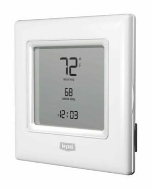 programmable thermostat white with black digital numbers