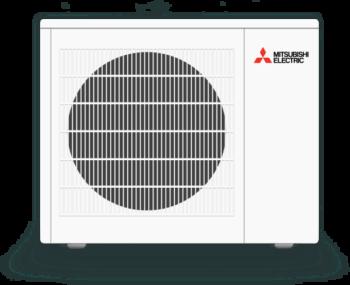 white mitsubishi mini split outdoor condenser unit
